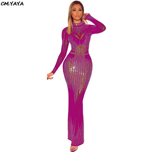 women new 2019 mesh see though rhinestone stripes bodycon bandage zip up back club party maxi dress 4 colors vestidos GLM2625