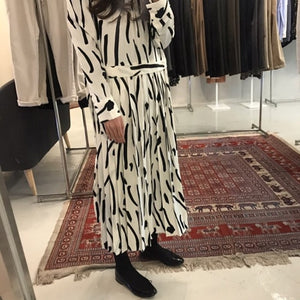 SuperAen Korean Style Temperament Casual Fashion Women Dress New Autumn 2018 Lace Pleated Dress Long Sleeve Loose Long Dresses