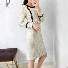 Load image into Gallery viewer, New Tweed Dress Women 2019 Spring Vintage Autumn Wool Plaid Dresses Female Elegant Small fragrance Woolen Dress Ladies Office