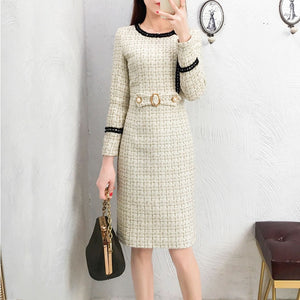 New Tweed Dress Women 2019 Spring Vintage Autumn Wool Plaid Dresses Female Elegant Small fragrance Woolen Dress Ladies Office