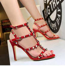 Load image into Gallery viewer, TTSDARCUPS New summer women shoes Star same style Rivet shoes Ankle strap Sexy hollowed sandals with high heels Party shoes