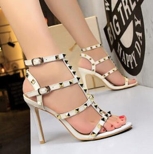 TTSDARCUPS New summer women shoes Star same style Rivet shoes Ankle strap Sexy hollowed sandals with high heels Party shoes