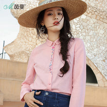 Load image into Gallery viewer, INMAN 2019 New Products Women Spring Clothes  Embroider Long Sleeves  Cotton And Linen  Blouses Shirts Doll Collar
