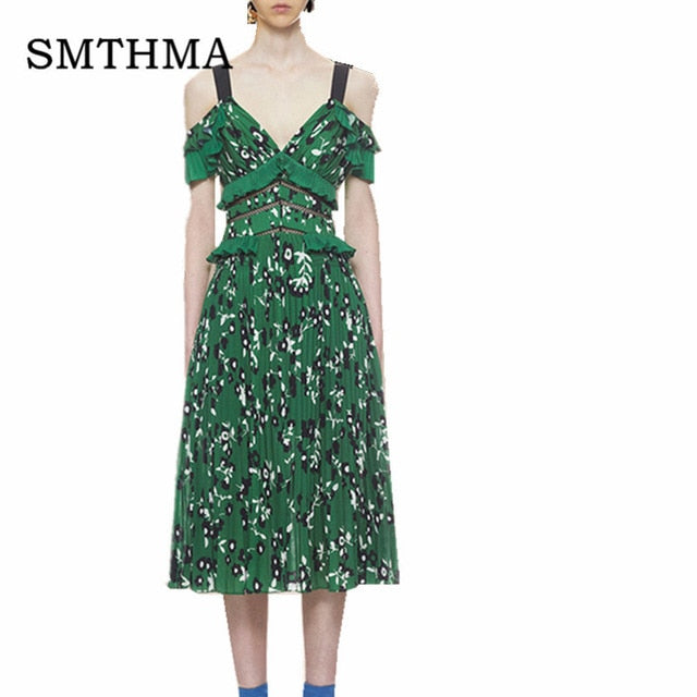 SMTHMA 2019 New arrival High quality Self Portrait Runway summer green flower print women dress S -XXL