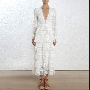 SMTHMA 2019 New arrive High quality luxury runway white Lace Dress women Long sleeve Sexy V-neck party dress vestidos
