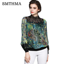 Load image into Gallery viewer, SMTHMA 2019 Autumn Women Blouses Vintage  Printed Long Sleeve peacock feather printing embroidery Shirt