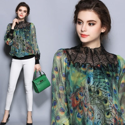 SMTHMA 2019 Autumn Women Blouses Vintage  Printed Long Sleeve peacock feather printing embroidery Shirt