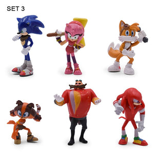 6Set Sonic Action Figure Cute Anime Sonic Boom Rare Dr Eggman Shadow PVC Collectible Model Doll Toys Gift For Kids