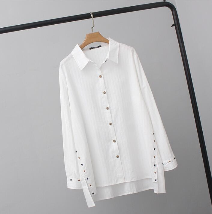 Women's Blouses Tops White Blusas 2019 long sleeve embroidery women clothes plus size female loose long shirts spring 4XL 5XL