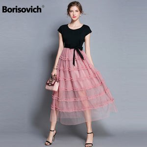 Borisovich Women Casual Long Dress New Brand 2018 Summer Fashion Mesh Patchwork Big Swing Elegant Ladies Party Dresses M790