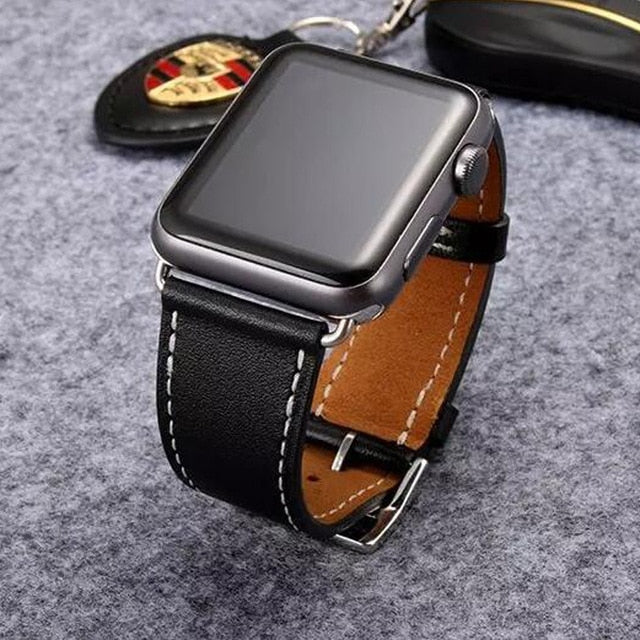 Yolovie Genuine Leather Strap Band for Apple Watch 42mm 44mm Series 4 3 2 1, High Quality Leather for Apple Sport Band 38mm 40mm
