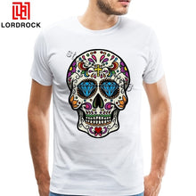 Load image into Gallery viewer, 2018 Fashion Summer Men T Shirt Skull TShirt Big Size Mexican Skull Tee Shirt For Handsome Guy Printed Sugar Skull PP T-Shirt