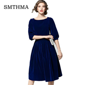 SMTHMA 2019 New arrival High quality runway Womens Velvet Dresses Spring Women Party Dress vestidos mujer