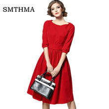 Load image into Gallery viewer, SMTHMA 2019 New arrival High quality runway Womens Velvet Dresses Spring Women Party Dress vestidos mujer