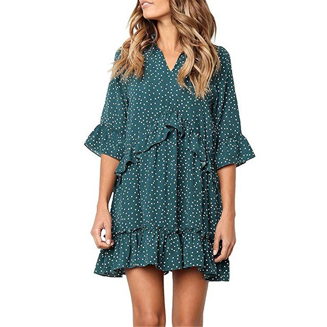 JuneLove Vintage Summer V Neck Women Boho Dress Polka Dots Print Causal Loose Short Sleeve Elegant Vintage Ruffle Beach Dress