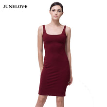 Load image into Gallery viewer, JuneLove 2019 Sexy basic stretchy straps dress women casual bodycon mini dress cotton back split dress vestidos