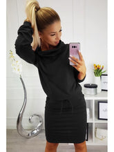 Load image into Gallery viewer, Women Pencil Dress Female Autumn Solid Black Long Sleeve Knee-length Elegant Belt Loose Casual Office Work Dresses