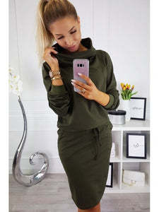 Women Pencil Dress Female Autumn Solid Black Long Sleeve Knee-length Elegant Belt Loose Casual Office Work Dresses