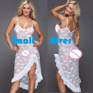New arrival sexy Elegant Women's underwear Female Night Club Sexy backless dress Transparent lace nightgown Clothes