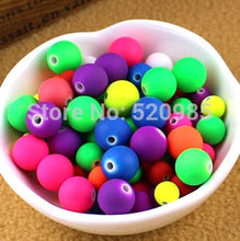 Load image into Gallery viewer, Mixed 8mm Rubber beads Fluorescence Neon Round Ball Loose Acrylic Spacer Beads for jewelry making ACB03