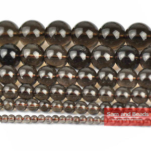 "Free Shipping Natural Stone Smooth Smoky black Quartz Beads 16"" strand 6/8/10/12mm pick size SQB01"