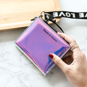 HUBOONE Fashion Women Leather Wallet Holographic Wallet Women Small Card Wallet Zipper Coin Purse Card Holder portefeuille femme