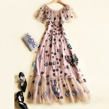 Load image into Gallery viewer, Woman Fashion Runway Maxi Dress 2019 Summer Designer Ruffles Slash Neck Floral Embroidery Tulle Long Party Dresses Vestidos