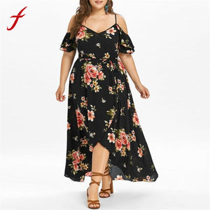 vestido verano 2018 Women maxi dress Short Sleeve Cold Shoulder Boho Flower Print summer dress plus size long dress vestido sexy