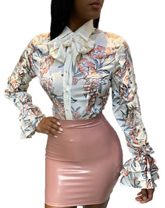 new women ruffles petal long sleeve floral print bow collar turn-down neck fashion casual vintage blouses shirts coat top RRK193