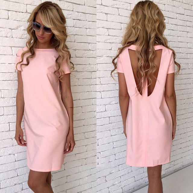 Sexy Hollow Back Straight Dress O-Neck Slim Solid Color Mini Dress Summer Casual Loose Short Sleeve Sexy Party Dresses Vestidos