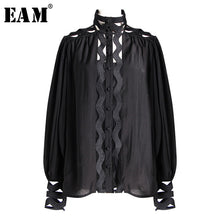 Load image into Gallery viewer, [EAM] 2019 New Spring Summer Stand Collar Long Sleeve White Hollow Out Loose Chiffon Stitch Shirt Women Blouse Fashion JO033