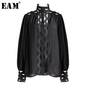 [EAM] 2019 New Spring Summer Stand Collar Long Sleeve White Hollow Out Loose Chiffon Stitch Shirt Women Blouse Fashion JO033