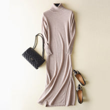 Load image into Gallery viewer, Turn-down Collar Full Sleeve 30 Cashmere Knit Dress Side Slit Slim Long Dress Women Long Sweaters Knitted Fall Winter Dress #941