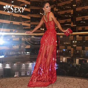 Gosexy 2019 New Women A-Line Red Bandage Dress Floral Lace Sleeveless Spaghetti Strap Dress Floor-Length Strapless Lady Fashion