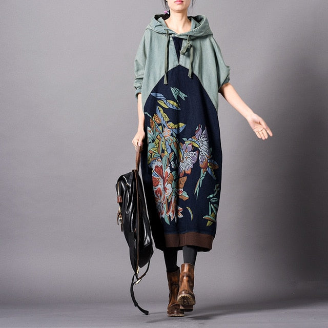 Women Spring Patchwork Printed Hooded Dress Ladies Bat Sleeve Plus Size Dress Female Vintage Oversize Dress 2019 Spliced Dresses