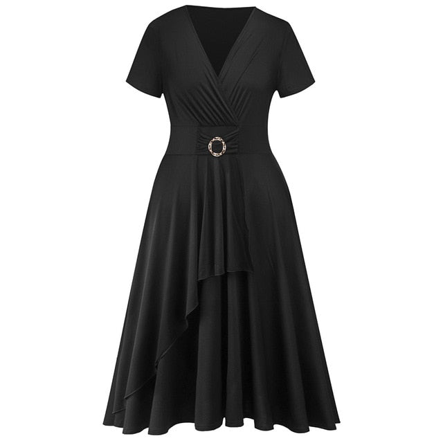 Kenancy Plus Size 5XL Women Vintage Dress Solid Purple Black Retro Dress Party Vestidos Sexy V Neck Short Sleeves Office Dress