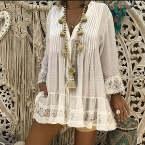 Women Fashion Lace Stitching Long Sleeve Loose Large Size Women's Clothing Sexy Beach Blouse Shirts For Women Casual V Neck