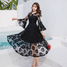 Load image into Gallery viewer, ladies lace long dress pinched waist party dress longos vestidos plus size flare sleeve cultivating bridemaid dress de festa 4XL
