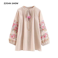 Load image into Gallery viewer, Ethnic Bow tie V neck pink Flower Embroidery Shirt Vintage Woman Stream Tassel Pleated Shoulder Long Sleeve Loose Blouse Tops