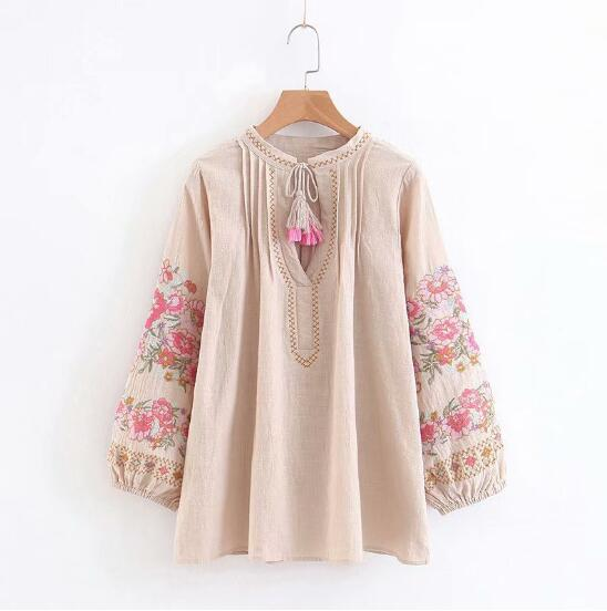 Ethnic Bow tie V neck pink Flower Embroidery Shirt Vintage Woman Stream Tassel Pleated Shoulder Long Sleeve Loose Blouse Tops