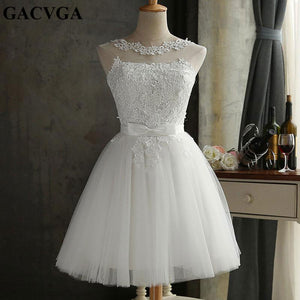 GACVGA 2019 Lace Summer Dress Women Sleeveless Lovely White Bowknot Short Dress Slim Christmas Party Dresses Vestidos