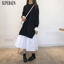 Load image into Gallery viewer, SuperAen New 2018 Autumn Loose Long-sleeved Women Dress Casual Cotton Stitching Ladies Dress Korean Style Wild Long Dress Female