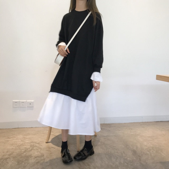 SuperAen New 2018 Autumn Loose Long-sleeved Women Dress Casual Cotton Stitching Ladies Dress Korean Style Wild Long Dress Female