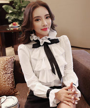 Load image into Gallery viewer, New Women Tops Fashion Ladies white Ruffled Bow Long Sleeve Shirts Casual Chiffon Blouse 2018 Work Wear Office Blusas Femininas