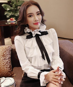 New Women Tops Fashion Ladies white Ruffled Bow Long Sleeve Shirts Casual Chiffon Blouse 2018 Work Wear Office Blusas Femininas