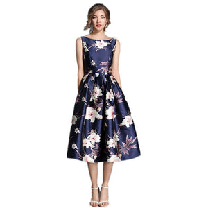 2018 High Quality New European Style Spring Summer Blue Print Dress Women Retro Casual Robe Femme Party Dressses