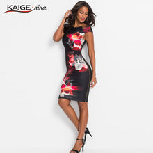 Load image into Gallery viewer, Women Fashion Bandage Sexy Split Midi Dresses Zipper Printed Knitted O-Neck Empire Spaghetti Strap Wrap Dress Female 1916