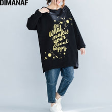Load image into Gallery viewer, DIMANAF Plus Size Women Hoodies Sweatshirts Winter Knitted Thicken Warm Female Hooded Pullover Tops Loose Long Rrint Letter 2018