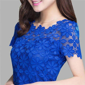 women tops Lace Shirt Blusas Femininas Blouses & Shirts 2018 New Fashion Short sleeve Women Blouse plus size Women Clothing 5XL