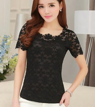Load image into Gallery viewer, women tops Lace Shirt Blusas Femininas Blouses & Shirts 2018 New Fashion Short sleeve Women Blouse plus size Women Clothing 5XL